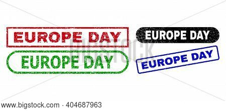 Europe Day Grunge Seals. Flat Vector Distress Seals With Europe Day Text Inside Different Rectangle