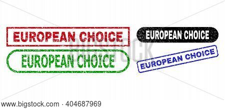 European Choice Grunge Seals. Flat Vector Grunge Watermarks With European Choice Title Inside Differ