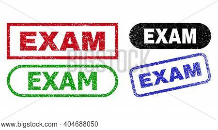 Exam Grunge Watermarks. Flat Vector Scratched Watermarks With Exam Caption Inside Different Rectangl