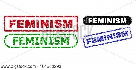 Feminism Grunge Seal Stamps. Flat Vector Grunge Seal Stamps With Feminism Message Inside Different R