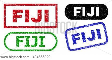 Fiji Grunge Seal Stamps. Flat Vector Grunge Seal Stamps With Fiji Caption Inside Different Rectangle