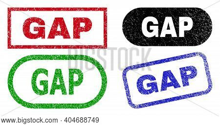 Gap Grunge Seal Stamps. Flat Vector Grunge Seal Stamps With Gap Tag Inside Different Rectangle And R