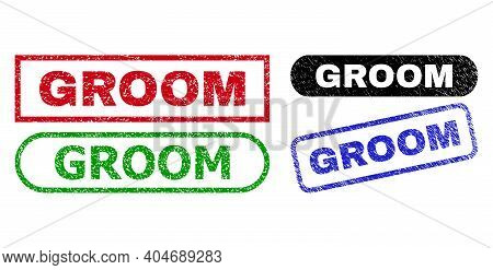 Groom Grunge Stamps. Flat Vector Scratched Seal Stamps With Groom Message Inside Different Rectangle
