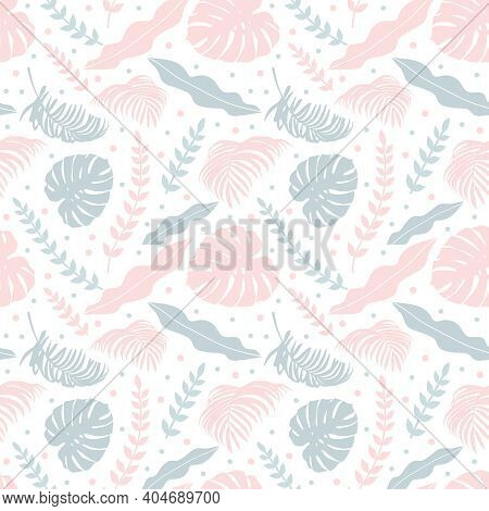 Vector Seamless Pattern With Monster And Tropical Plants