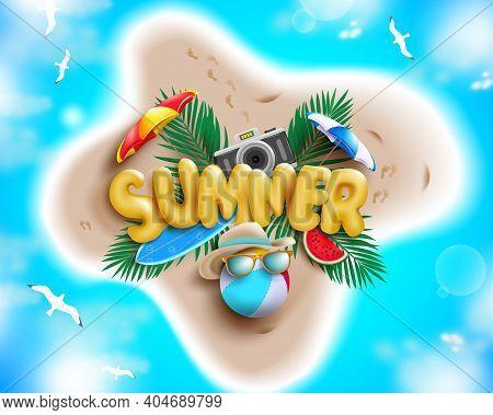 Summer Vector Concept Design. Summer 3d Text In Island With Beach Element Like Beach Ball, Umbrella