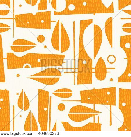 Seamless Mid Century Modern Autumn Pattern With Leaves And Geometric Shapes. Cheerful Retro Design F