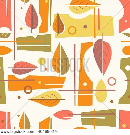Seamless Mid Century Modern Autumn Pattern With Leaves And Geometric Shapes. Retro Color Design For