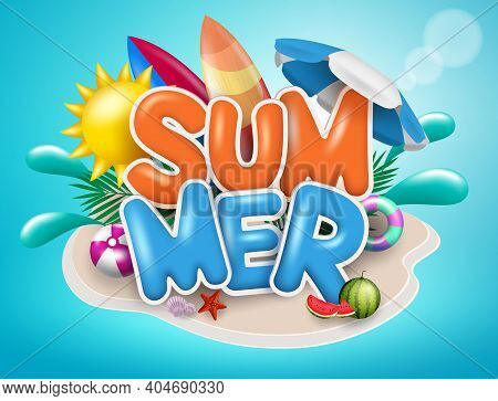 Summer Vector Concept Design. Summer Text In Island With Beach Element Like Sun, Surfboard And Umbre