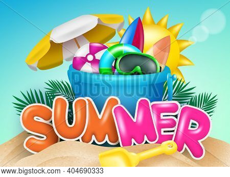 Summer Vector Concept Design. Summer Text In Beach Sand With Bucket And Shovel Toy Element For Kids