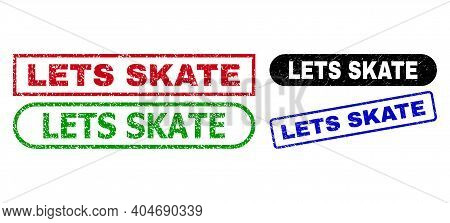 Lets Skate Grunge Stamps. Flat Vector Grunge Seal Stamps With Lets Skate Title Inside Different Rect
