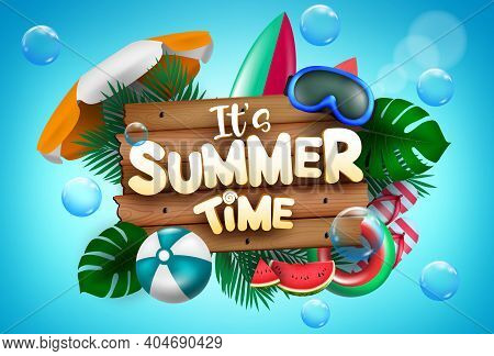 Summer Time Vector Concept Design. It's Summer Time Text With Colorful Beach Elements Like Goggles,