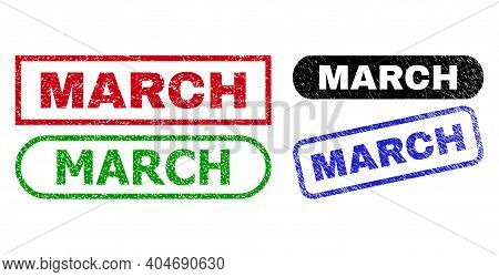 March Grunge Watermarks. Flat Vector Grunge Watermarks With March Slogan Inside Different Rectangle