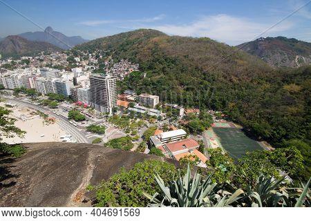 Aerial View Of Buildings And Favela In Rio De Janeiro Brazil.