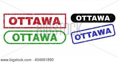 Ottawa Grunge Watermarks. Flat Vector Distress Watermarks With Ottawa Caption Inside Different Recta