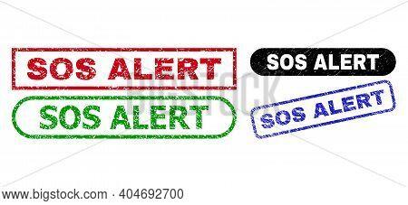 Sos Alert Grunge Watermarks. Flat Vector Scratched Watermarks With Sos Alert Caption Inside Differen