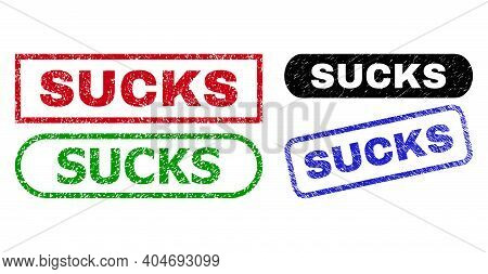 Sucks Grunge Watermarks. Flat Vector Grunge Seals With Sucks Caption Inside Different Rectangle And