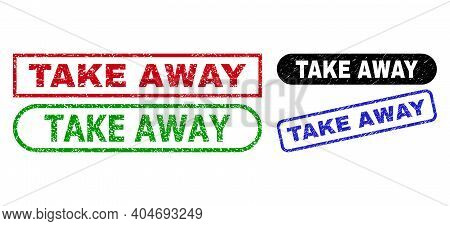 Take Away Grunge Stamps. Flat Vector Grunge Stamps With Take Away Caption Inside Different Rectangle
