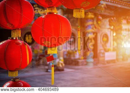 Red Lantern Decoration For Chinese New Year Festival At Chinese Shrine Ancient Chinese Art With The