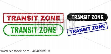 Transit Zone Grunge Stamps. Flat Vector Scratched Stamps With Transit Zone Tag Inside Different Rect