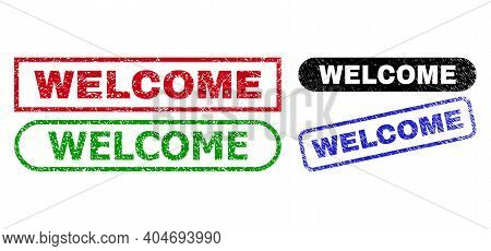 Welcome Grunge Watermarks. Flat Vector Grunge Seals With Welcome Title Inside Different Rectangle An