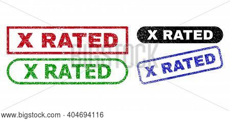 X Rated Grunge Seal Stamps. Flat Vector Grunge Seal Stamps With X Rated Slogan Inside Different Rect