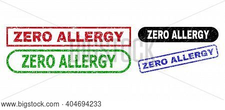 Zero Allergy Grunge Seal Stamps. Flat Vector Textured Seal Stamps With Zero Allergy Phrase Inside Di