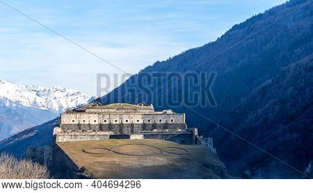 Exilles Fort Is A Fortified Complex In The Susa Valley, Metropolitan City Of Turin, Piedmont, Northe