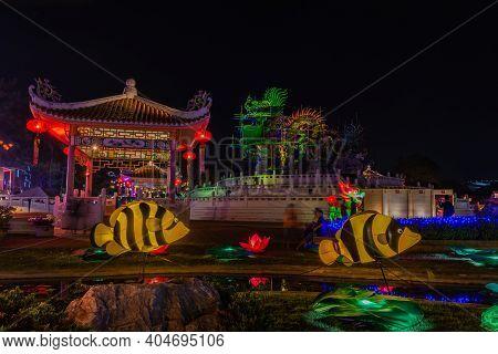 Nakhonsawan, Thailand - December 2018: Lantern Puppet Festival To Celebrate Chinese New Year, Where