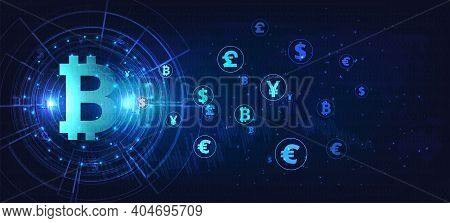 Bitcoin Digital Currency Concept. Exchanging Bitcoin Digital Currency With Dollar, Euro, Pound , Yen