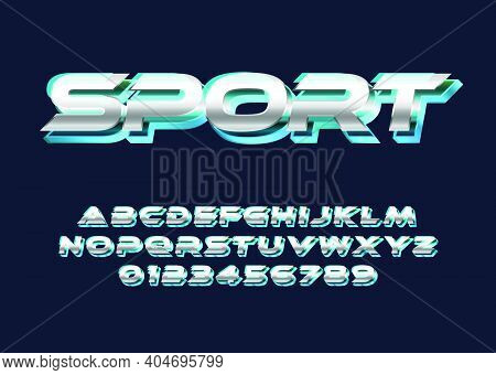 Sport Text Effect, Modern And Cool Text Effect With 3d Bold Style. Set Of Alphabet And Number For Po