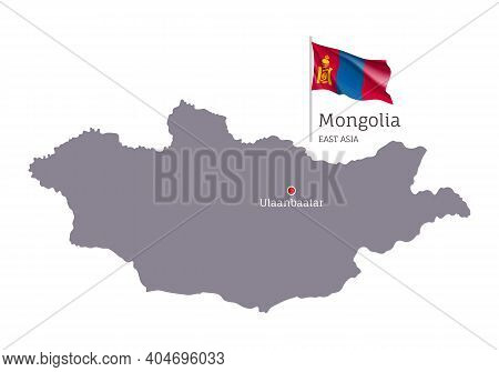 Silhouette Of Mongolia Country Map. Gray Editable Map Of Mongolia With Waving National Flag And Ulaa