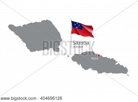Silhouette Of Samoa Country Map. Gray Detailed Editable Map Of Samoa With Waving National Flag And A