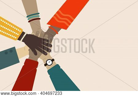 Vector Illustration Of International Team Building. Concept Of Multinational Team. Business Partners