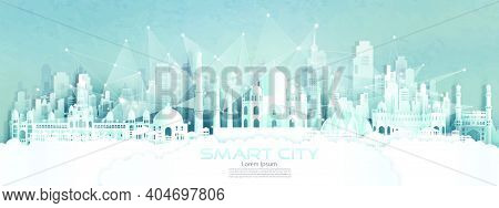 Technology Wireless Network Communication Smart City With Architecture In India Of Asia Downtown Sky