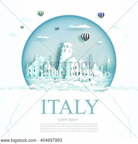 Travel Italy Monument With Ancient And City Modern Building In Circle Background. Business Tour For