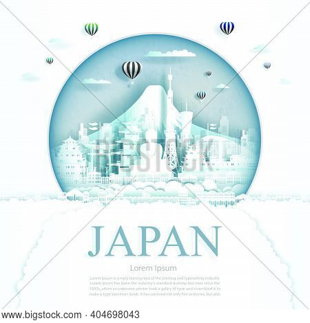 Travel Japan Monument With Ancient And City Modern Building In Circle Background. Business Tour For
