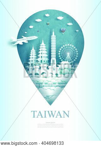 Travel China Taiwan Architecture Monument Pin In Asia With Ancient And City Modern Building. Travel