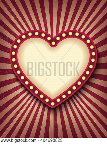 Brightly Glowing Heart Retro Cinema Neon Vertical Sign. Saint Valentine Day Circus Style Show Banner
