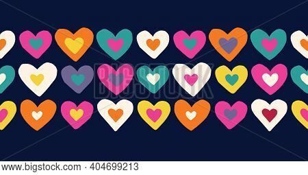 Retro Valentines Day Holiday Hand-drawn Doodle Colorful Hearts On Dark Background Vector Seamless Pa