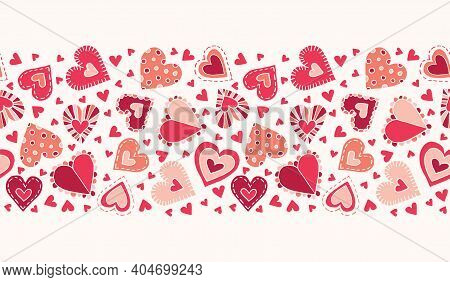 Valentines Day Holiday Hand-drawn Craft Doodle Colorful Hearts On Cream Background Vector Seamless P