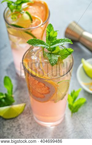 Grapefruit And Lime Mojito Cocktail, Cold And Refreshing Summer Drink