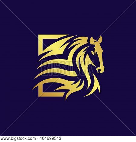 Golden Horse Running Vector Illustration, Perfect For Logo Mascot And Icon Logo.