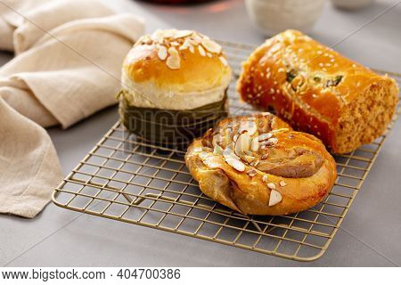 Asian Style Bakery Pastry Treats, Sweet And Savory, Served With Tea