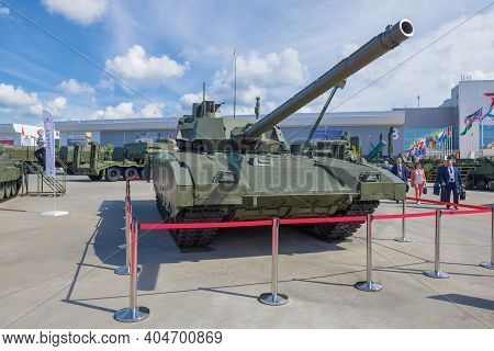 Moscow Region, Russia - August 25, 2020: The Newest Russian Armata Tank Т-14 On The Military Interna