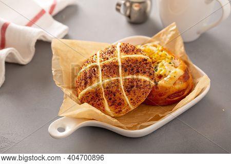 Mozzarella And Sweet Corn Savory Buns, Asian Style Bakery Treats