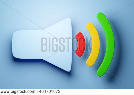 3d Illustration Of A Button To Turn On Music, Volume On A Blue Background. Volume Button Sign For Mu