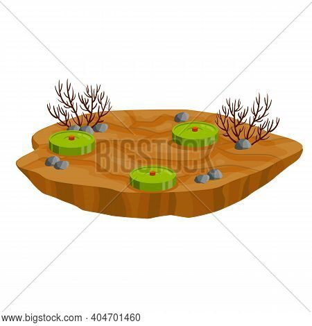 Minefield. Set Of Mines On Ground. Rocks And Grass. Explosive Element Of War. Cartoon Flat Illustrat