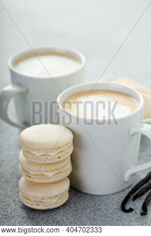 Vanilla Macarons With Vanilla Beans Served With Coffee, Light And Bright Scene