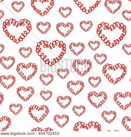 Abstract Seamless Pattern Background, Felt Tip Pen, Curly Red Hearts. Love Shaped Curl, Symbol Handm