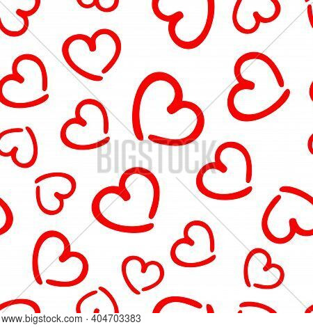 Abstract Seamless Pattern, Background. Curl Hearts Drawn By Red Felt Tip Pen. Love Shaped Curly Symb